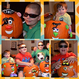 The boys pose with their decorated pumpkins