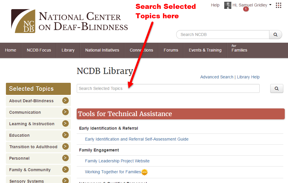 Screenshot showing Selected Topics search box