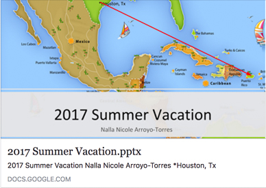 Screenshot of Google Slides for 2017 Summer Vacation for Nalla