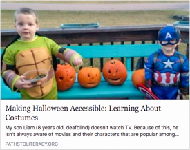 Facebook article preview screenshot: 2 young boys in super hero costumes, a Teenage Ninja Mutant Turtle (Liam) and a Captain America. Carved pumpkins are behind them.