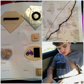 3 vacation images - tactile book, tactile map, and Liam reading a Braille book in a car.