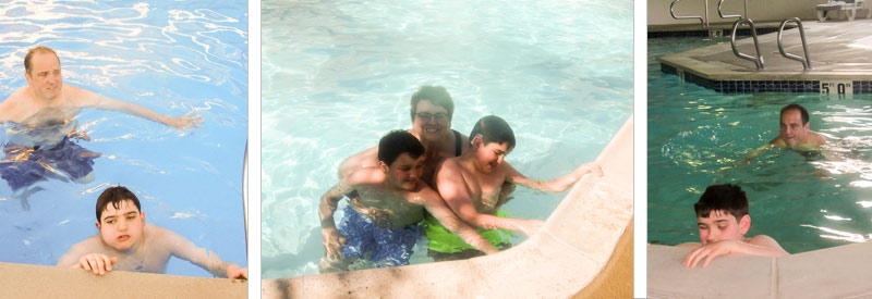 Two images of Liam in a pool with his father. Another image with his brother and mother.