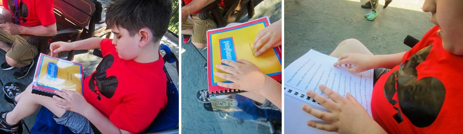 3 images of Liam with a Braille book of Disneyland Park