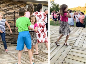 Two images of Hannah dancing outdoors--one with a boy another by herself.