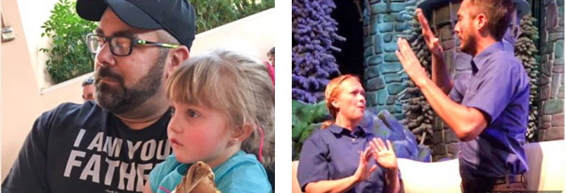 Molly, her father, and interpreters at Disney World