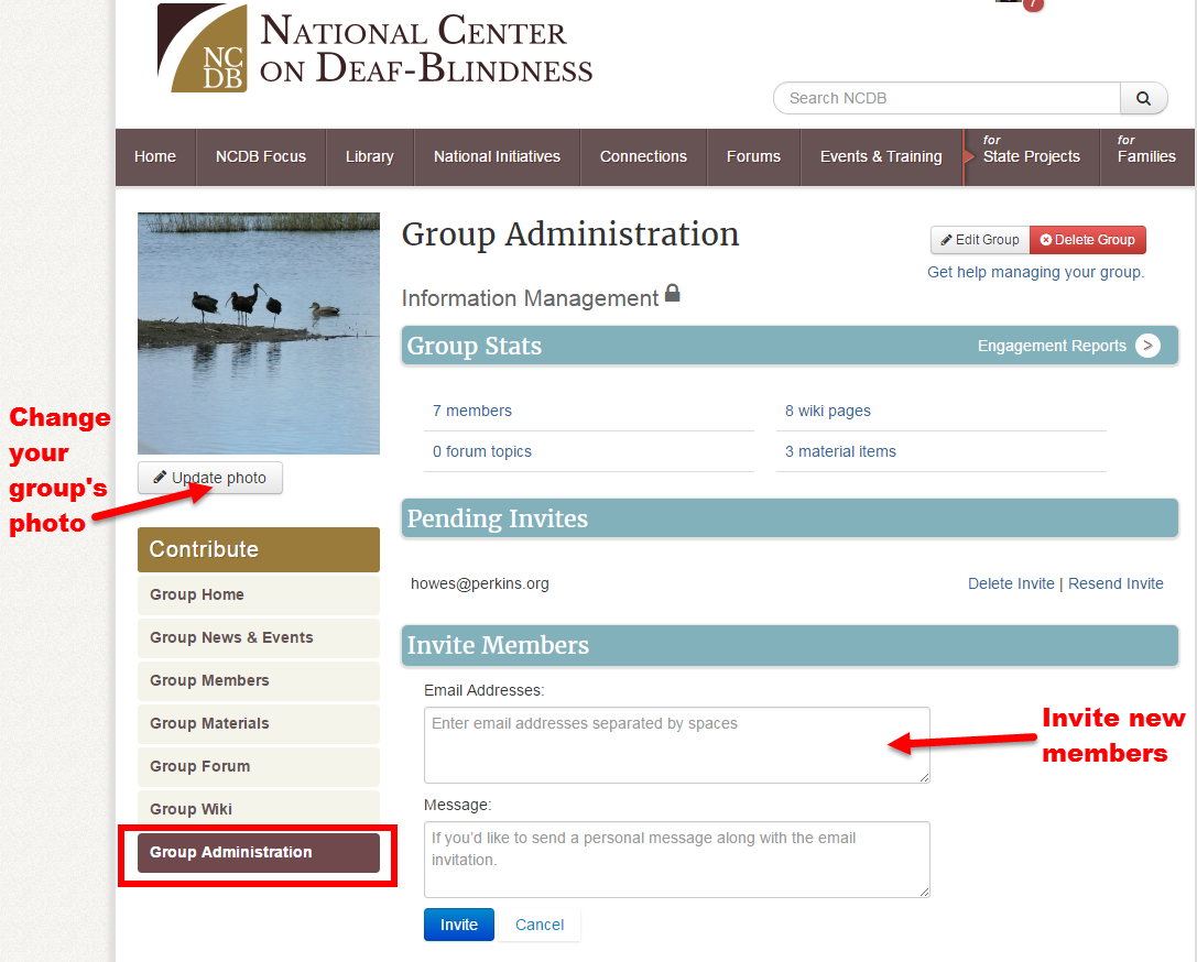 Screenshot of Group Administration page