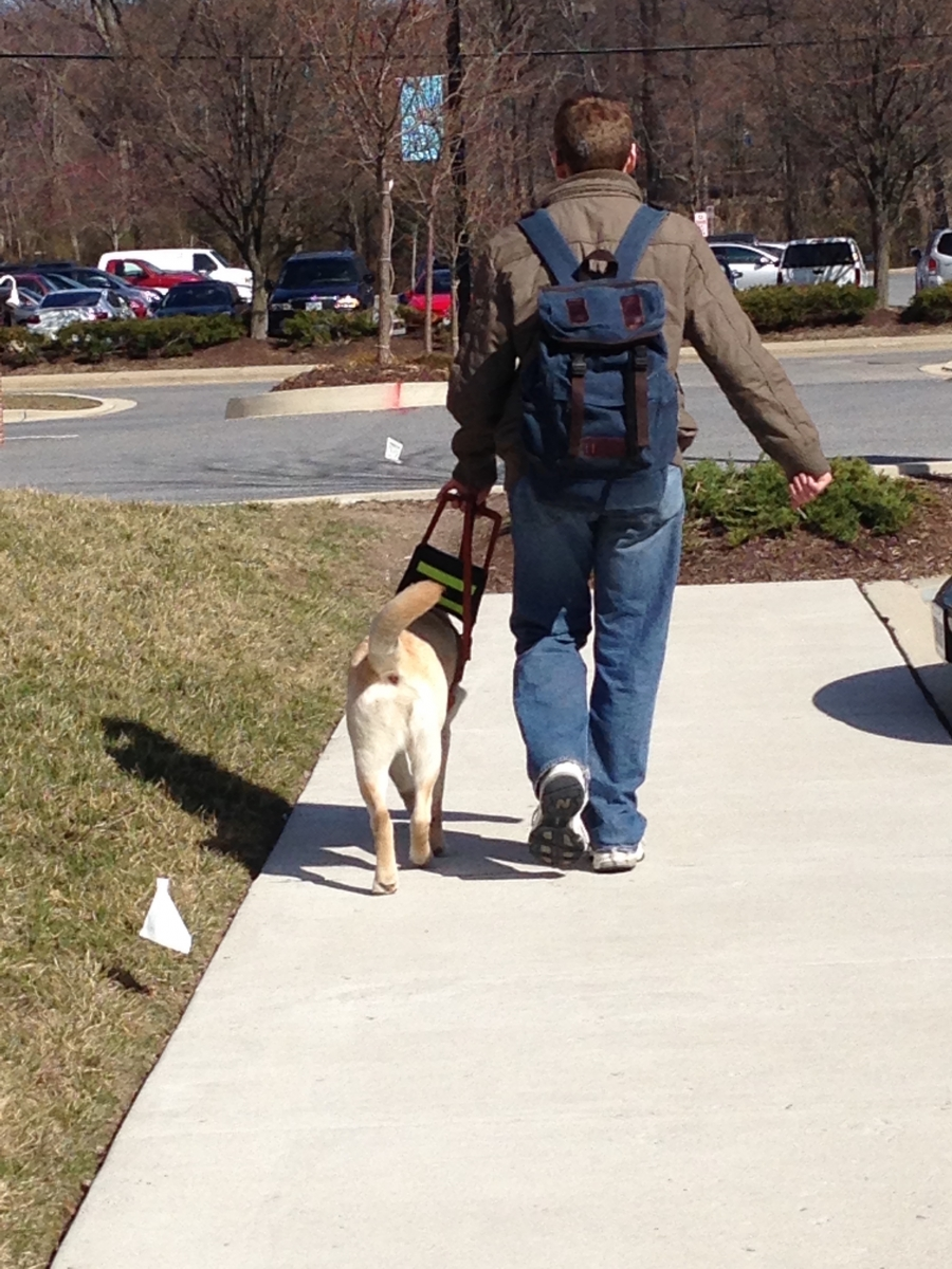 Jason walking with a backpack and his guide dog at his side.