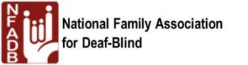 "NFADB Logo , Square in burgundy color with the ASL sign ""I Love You"" in white,  with the fingers representing stick family members.  NFADB Acronym is written in white down the left side of the square.   In Black letters to the right outside of the square,  National Family Association for Deaf-Blind is written in full ."