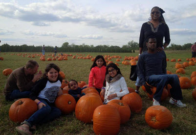 The group visits a pumpkin patch