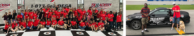 2 images at Talladega race track. Group picture by track logos and 2 students and guide dog standing by a race car.