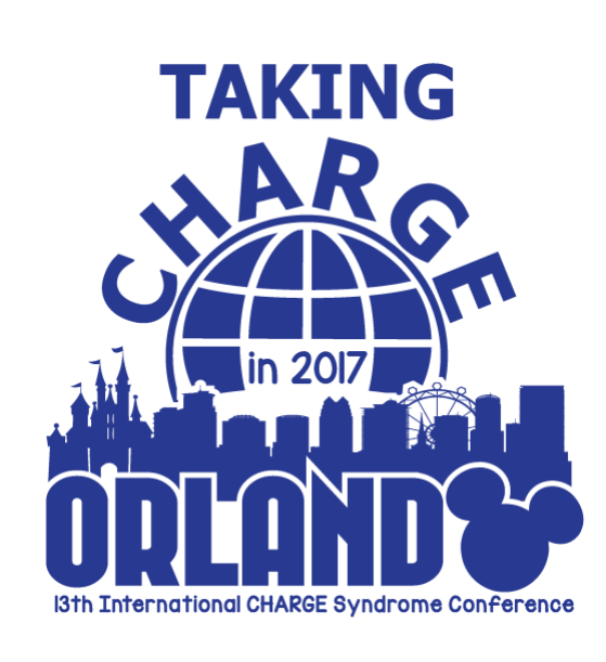 """Taking CHARGE in 2017, Orlando 13th International CHARGE Syndrome Conference"" logo with mickey mouse ears and disney park silhouette."