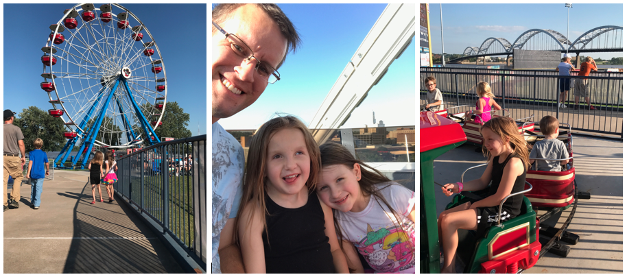 Strip of three photos. First is two young girls walking towards a farris wheel. Second is dad with two daughters. Third is a young girl on a ride at a theme park.