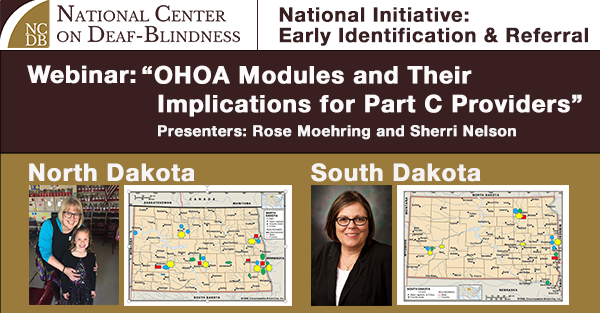 webinar advertisement: Photos of presenters Rose Moehring and Sherri Nelson and county maps of North and South Dakota with colorful icons spread throughout the states.