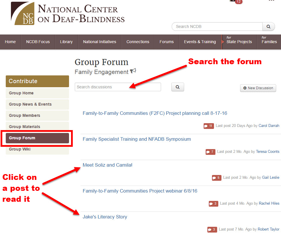 Screenshot of group forum