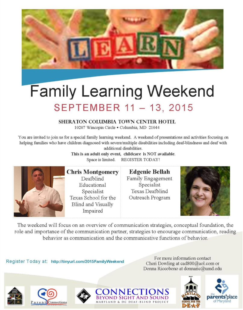 Screenshot of a flyer for a family learning weekend.