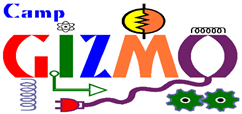 Logo for camp gizmo. Bright colors with arrows and gadgets creating the word gizmo.