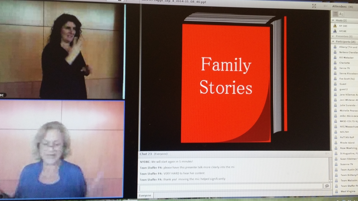 Screen show of webinar with C Berg and interpreter