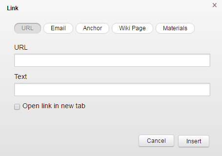 Screenshot of dialog box to insert link