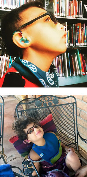 Photo of Soliz (in profile in front of bookshelves) and photo of Camila (sitting in a chair and smiling)