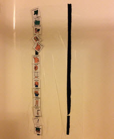 Two vertical strips of Velcro with picture symbols attached