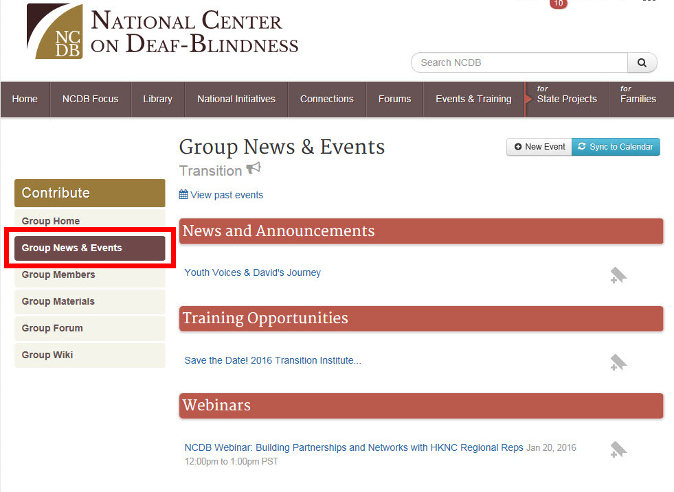 Screenshot of a Group News & Events page