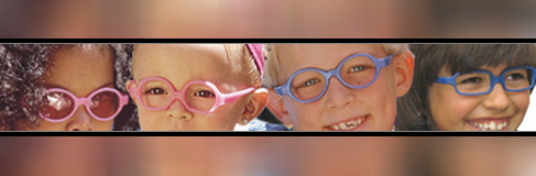 Four children in pink and blue glasses.
