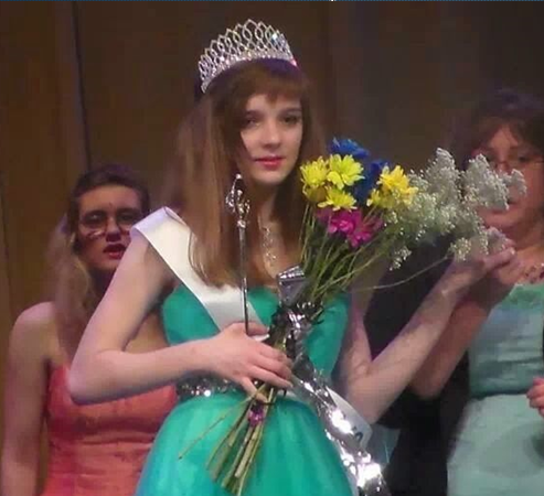 Katie takes a picture with her crown when she won the FSDB talent pageant.