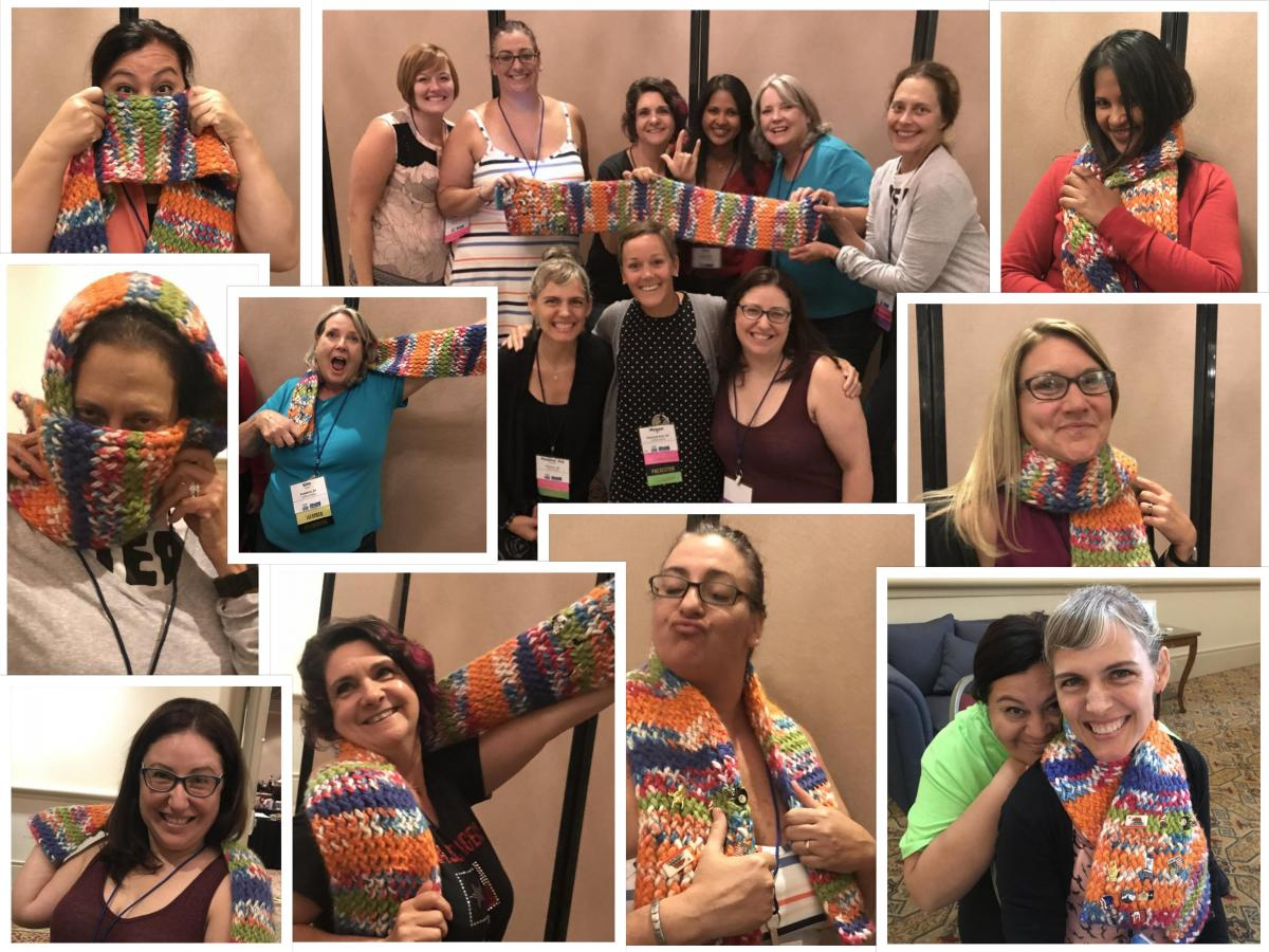 Collage of photos of Family Engagement Coordinators posing with the scarf
