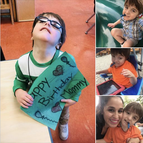 4 photos of Ethan in school, playground, and with his mom.