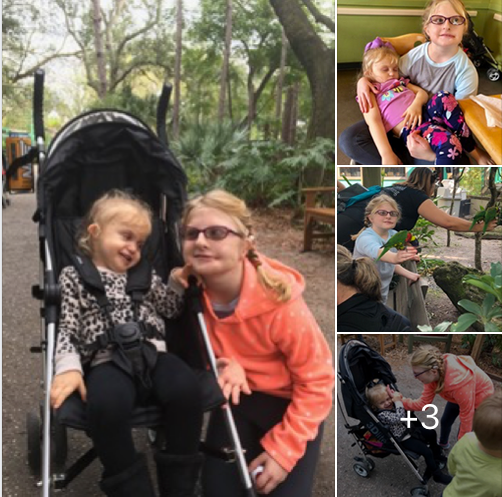 4 photos of Alice and her friend at the Zoo.