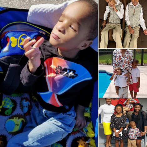 4 photos of Kaleb with his family.
